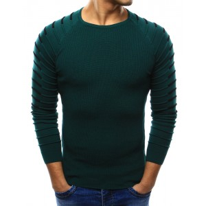 Štýlový pánsky pletený sveter tmavo zelenej farby