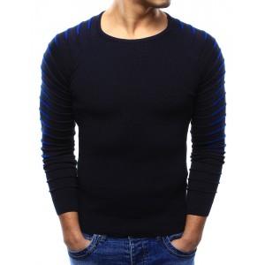 Pohodlný tmavo modrý pánsky sveter s výstrihom v tvare U
