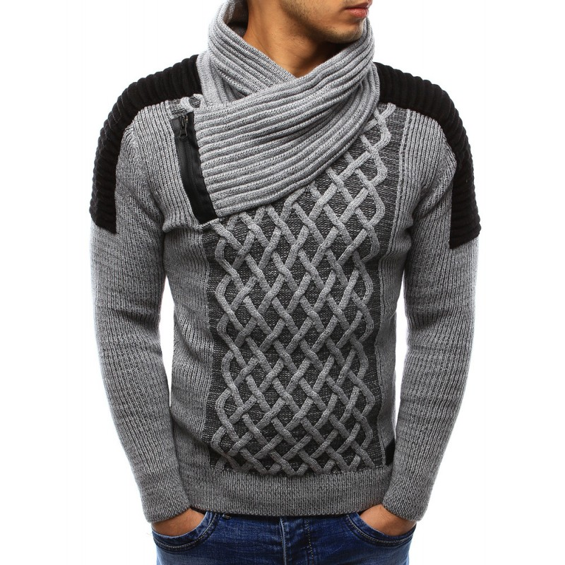 201ca7bc9b63 Moderný pánsky pletený sveter sivej farby s golierom - fashionday.eu