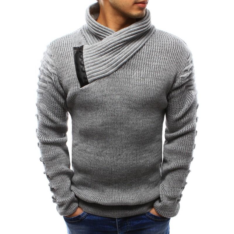 906340a159cd Hrubý pánsky pletený sveter sivej farby s golierom - fashionday.eu