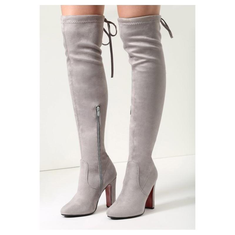 4d38335eb831 Elegantné dámske semišové čižmy na vysokom podpätku so šnurovaním a ...