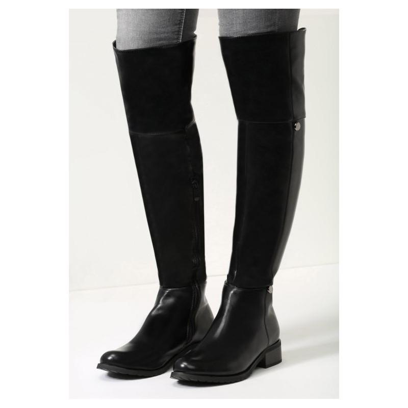 023f5f05357ab Čierne kožené dámske zimné čižmy nad kolená na nízkom podpätku so ...