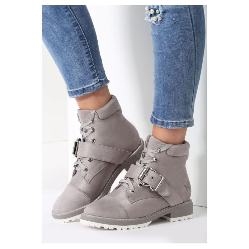Sivá dámska zimná obuv na nízkom podpätku s prackou - fashionday.eu 394f5b2b169