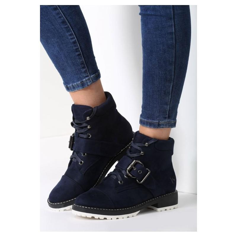 919edf33b188 Tmavo modrá dámska zimná obuv s prackou na šnúrovanie - fashionday.eu