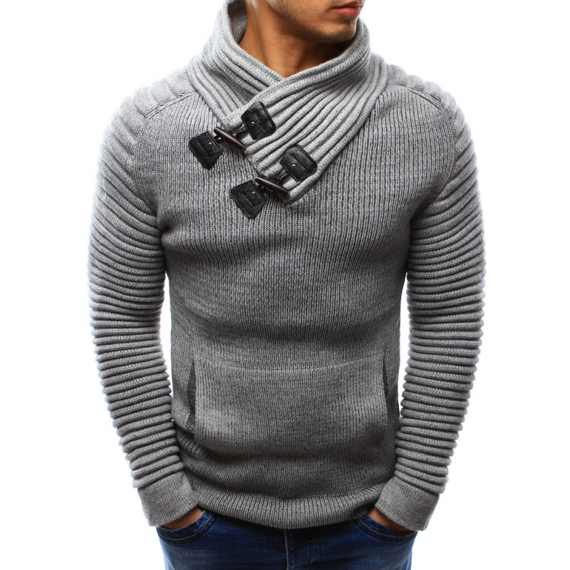 fa68369f4e17 Bavlnený pánsky pletený sveter sivej farby s golierom a vreckom ...