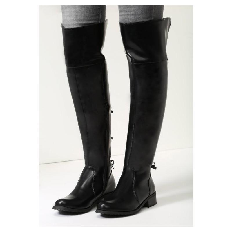 88fc7879fb315 Dámske zimné vysoké čižmy nad kolená v čiernej farbe s mašličkami v ...