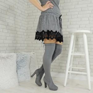 Semišové dámske vysoké čižmy nad kolená v sivej farbe na vysokom hrubom podpätku