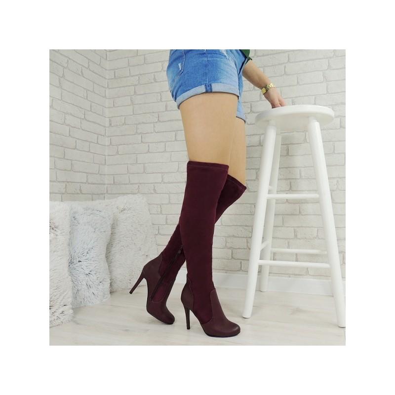 57895e151 Luxusné dámske vysoké čižmy nad kolená v bordovej farbe koženo ...