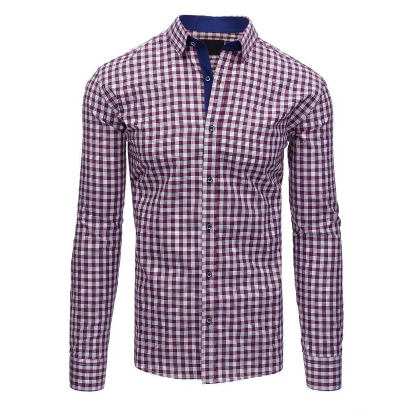 5261d3dfe886 Károvaná bielo bordová pánska košeľa s dlhými rukávmi - fashionday.eu