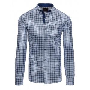 Moderná pánska károvaná košeľa modrej farby