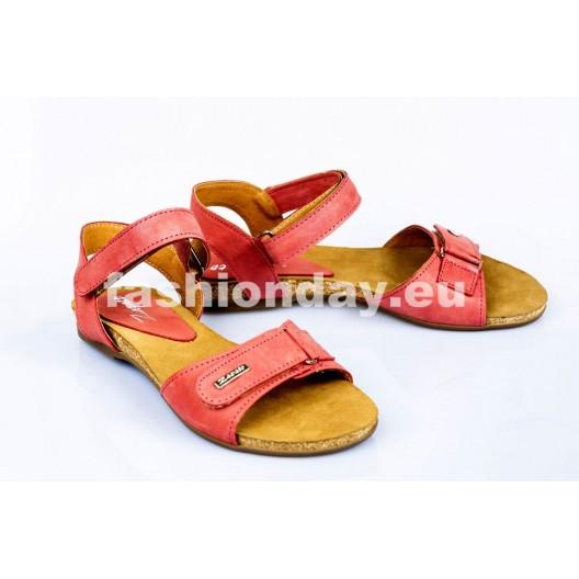 Dámske kožené sandále červená  DT078