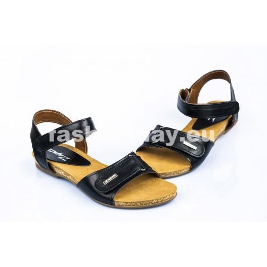 Dámske kožené sandále čierne  DT079
