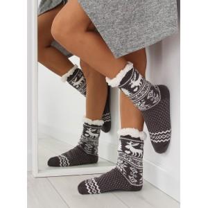 Jemné dámske ponožky sivej farby s vianočným vzorom