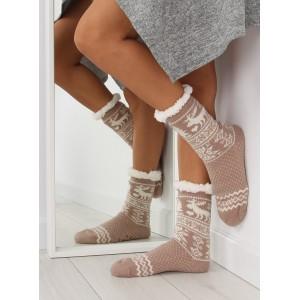 Elegantné dámske hrejivé ponožky béžovej farby so severským vzorom