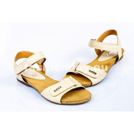Dámske kožené sandále béžové DT082