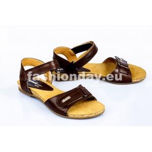 Dámske kožené sandále tmavo hnedé DT083