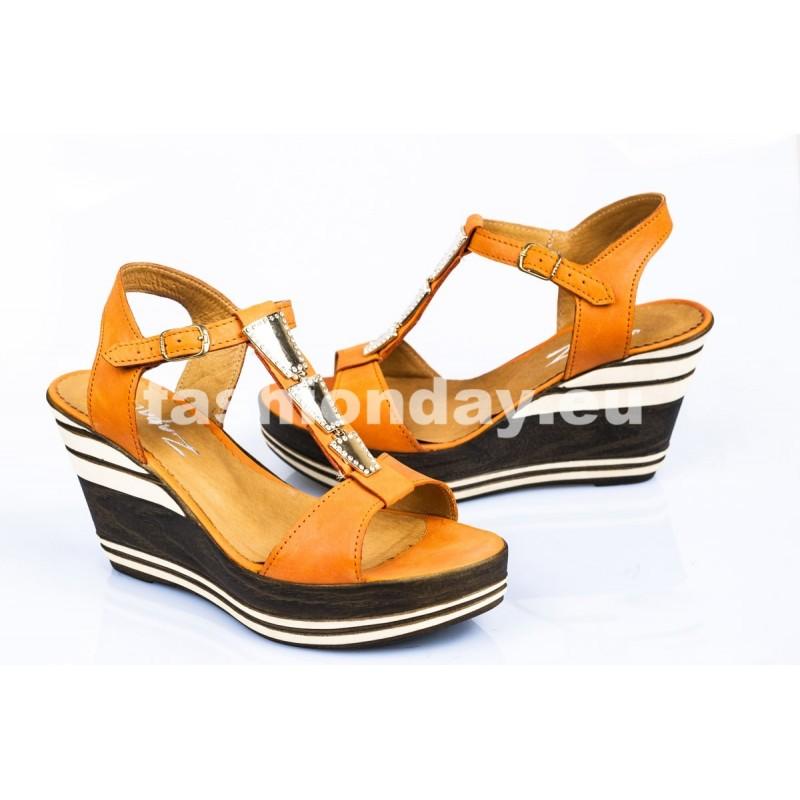 Dámske kožené sandále oranžové DT085 - fashionday.eu 4b40d67d9f7