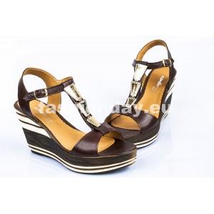 Dámske kožené sandále tmavo hnedé DT088