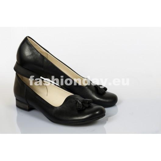 Dámske kožené balerínky čierne DT246