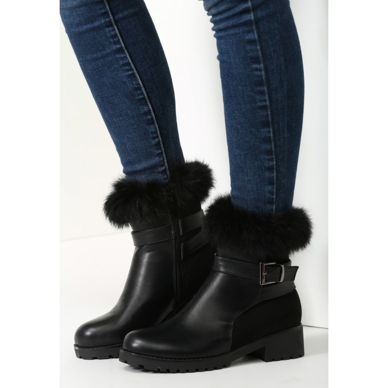 b038d70a512e Predchádzajúci. Elegantné dámske zimné topánky na hrubom podpätku s ozdobnou  prackou ...