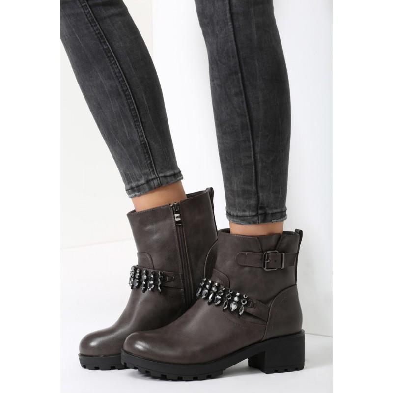 Predchádzajúci. Sivá dámska zimná obuv na nízkom podpätku s ozdobnou prackou  ... f1870c93bc5