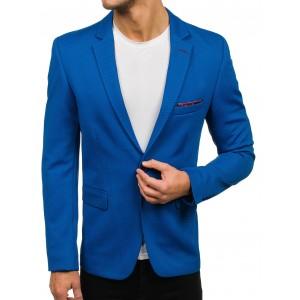 Moderné pánske saká slim fit strihu v modrej farbe