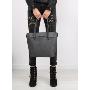 Jednoduchá sivá dámska kabelka do ruky s dlhým ramienkom