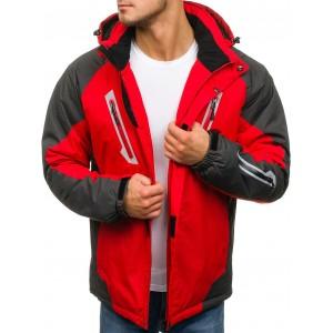 Červená pánska lyžiarska bunda s kapucňou a vreckami na zips