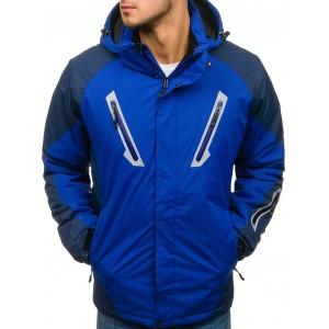 Kvalitná pánska ski bunda v modrej farbe na zips