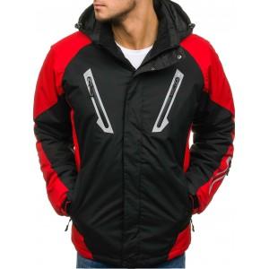Lyžiarská bunda čierno červenej farby s kapucňou