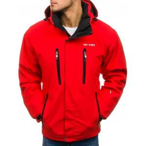 Červené pánske lyžiarské bundy so zapínateľnými vreckami