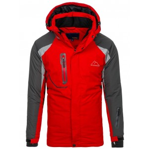 Ski červená bunda s kapucňou a sťahovacími rukávmi