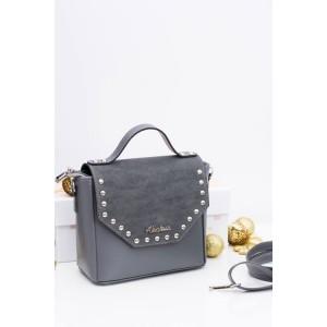 Elegantná dámska crossbody kabelka sivej farby s vybíjaním