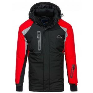 Pánska lyžiarska červeno čierna bunda s kapucňou
