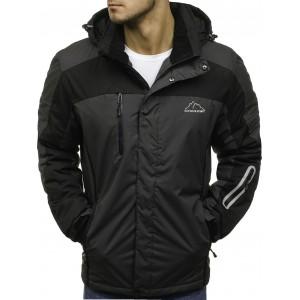 Tmavo sivá pánska SKI bunda so zapínaním a vreckami na zips