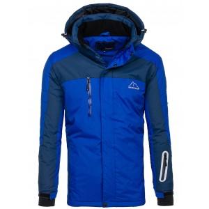 Modrá lyžiarska pánska bunda na zapínanie so zipsom a gombíkmi