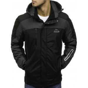 Čierne zateplené pánske lyžiarske bundy s kapucňou a vreckami na zips