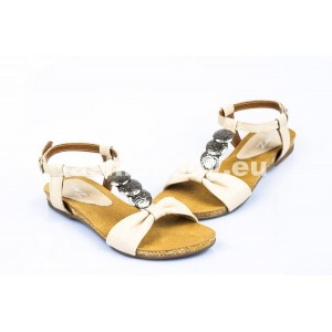 Dámske kožené sandále béžové DT094