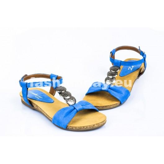 Dámske kožené sandále modré DT096