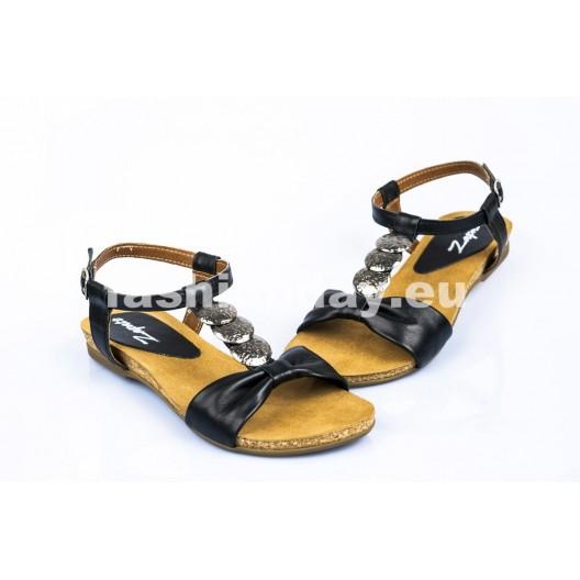 Dámske kožené sandále čierne DT097