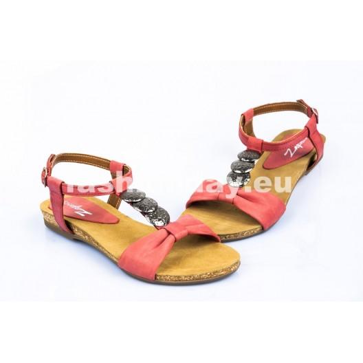 Dámske kožené sandále červená DT098