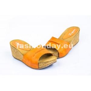 Dámske kožené dreváky oranžové DT078