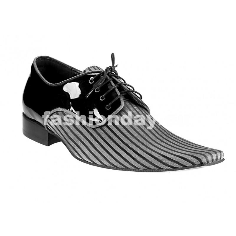 83f0687dc0a1 Pánske kožené extravagantné topánky čierno-sivé - fashionday.eu