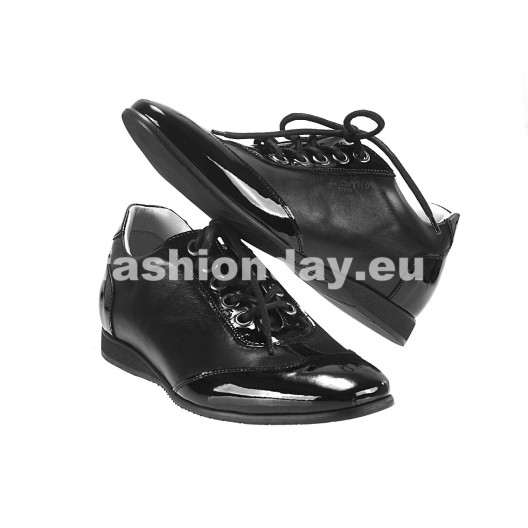 Pánske kožené športové topánky čierne ID: 543