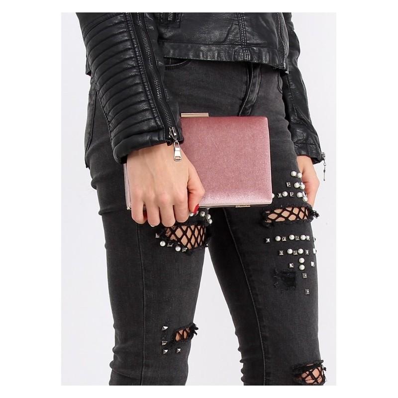 Dámska zamatová listová kabelka v ružovej farbe so zlatým lemovaním ... 771671be9fb