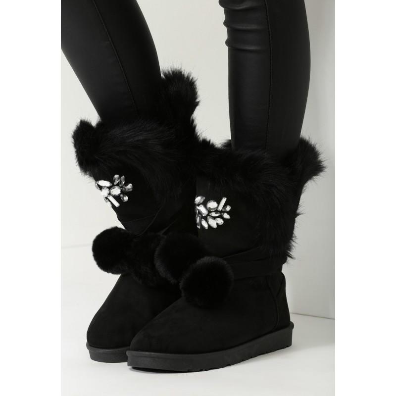 Elegantné čierne dámske snehule s kožušinou - fashionday.eu 3db09c0da9