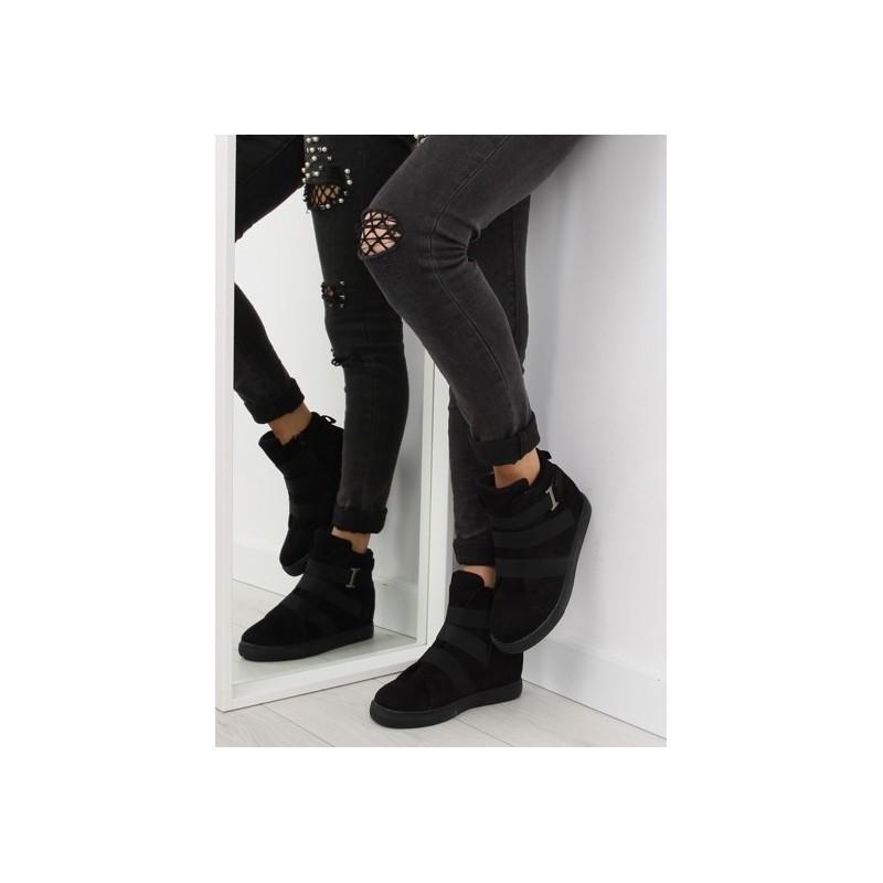 13930ab67580 Čierne dámske členkové topánky s platformou a skrytým podpätkom ...