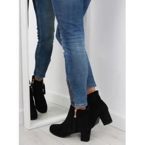 Čierne dámske členkové topánky na podpätku so zapínaním na zips