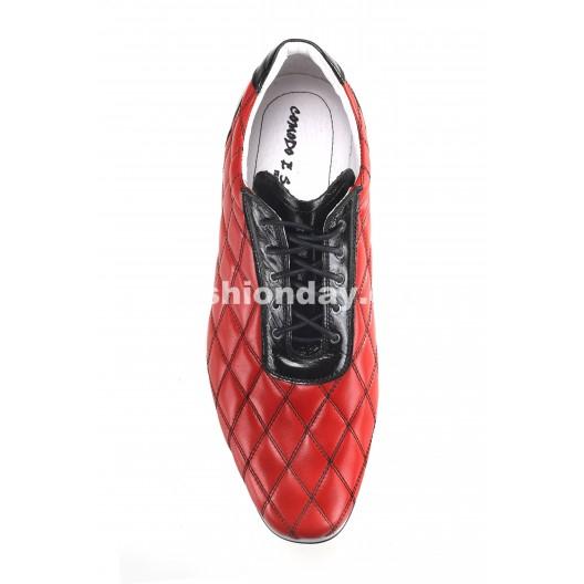 Pánske kožené športové topánky červené ID: 482