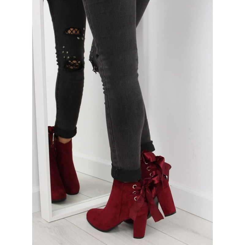 12646c343e3af Bordové dámske topánky na opätku s viazaním vzadu - fashionday.eu